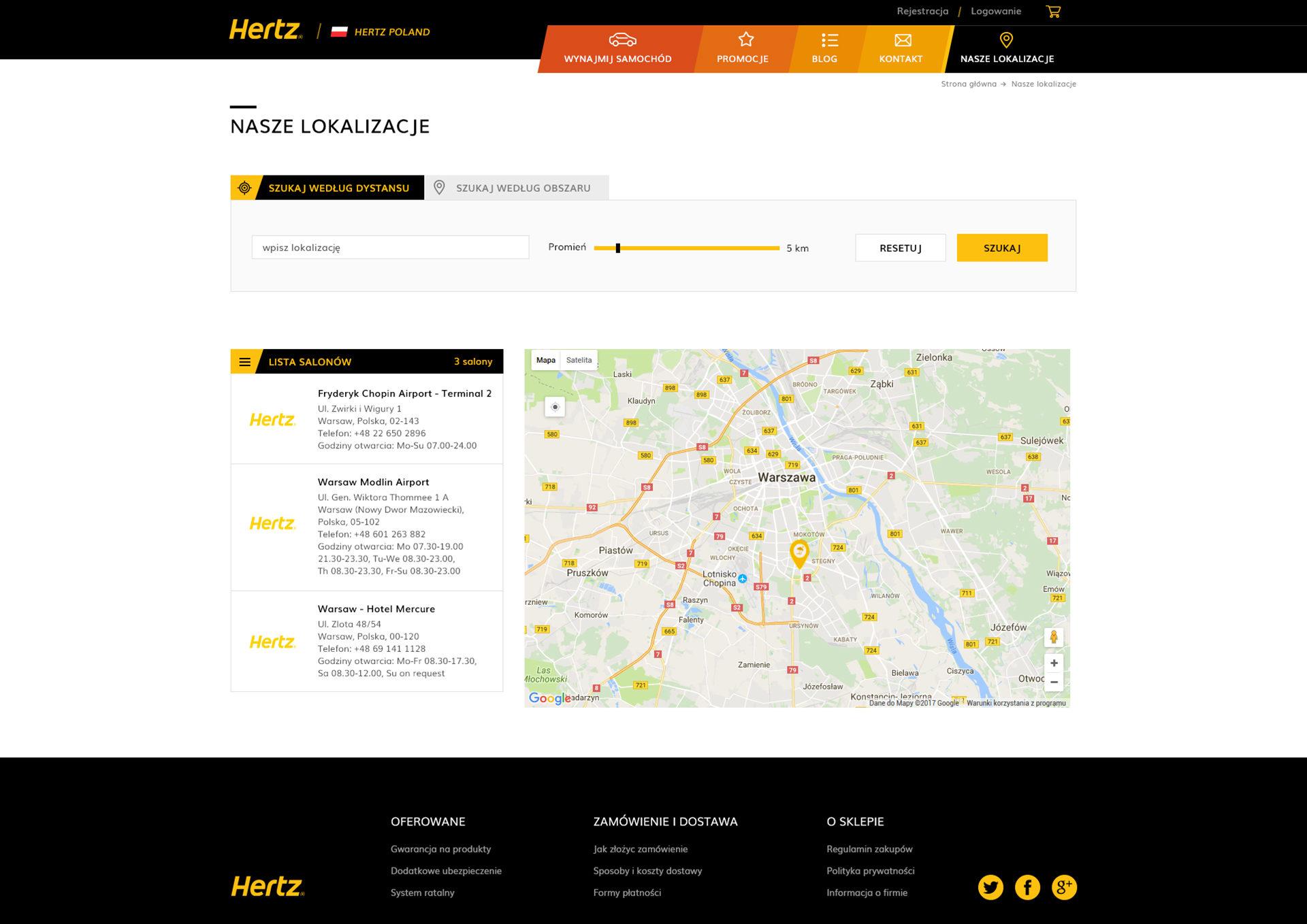 Hertz Polska Magento Ecommerce nasze lokalizacje